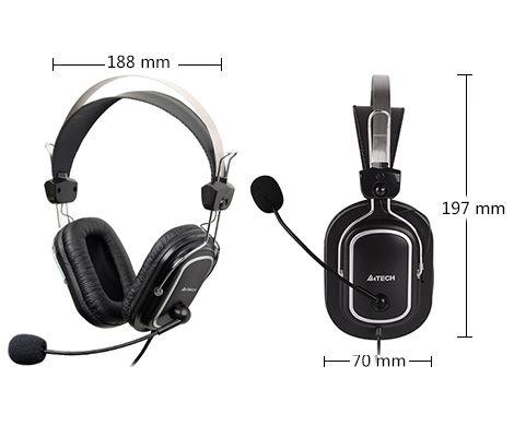 HEADSET GAMING  A4TECH HS-50 +VOLUM CONTROL+2MIC FOR  PC ,Headphones & Mics