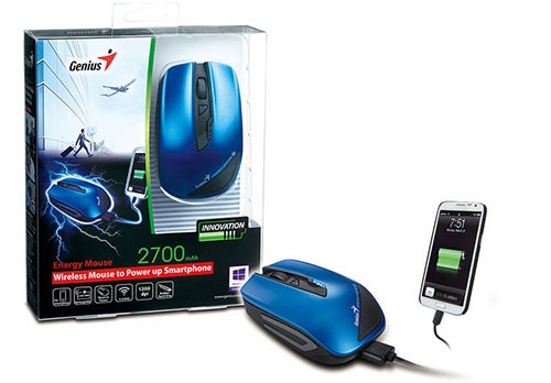 MOUSE WIRELESS GENIUS ENERGY TO POWER UP SMARTPHONE 2700MAH BLUE USB, Mouse
