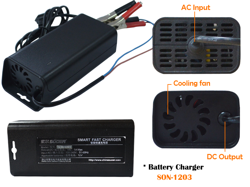 CHARGER SUOER FOR UPS BATTERY 12V & 3A  SON-1203 شاحن ,Battery Charger