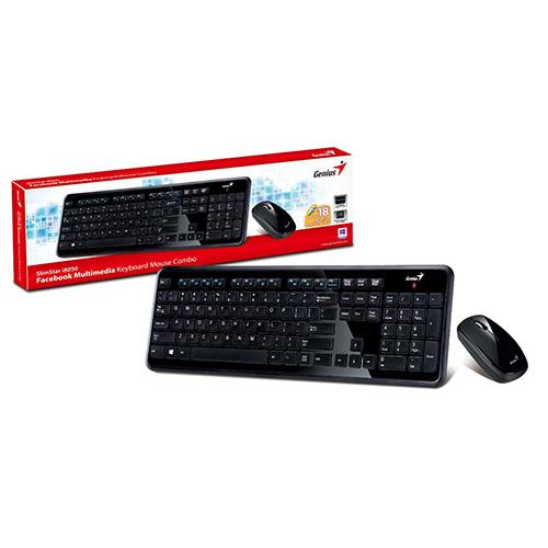 KEYBOARD WIRELESS GENIUS SLIMSTAR+MOUSE I8050 BLACK ,Keyboard