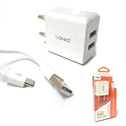 CHARGER LDNIO DUAL USB FOR IPHONE & IPAD - LDNIO DL-RC200 FOR IPHONE - OUTPUT DC5V-2.1A  شاحن مع كبل ,Smartphones & Tab Chargers