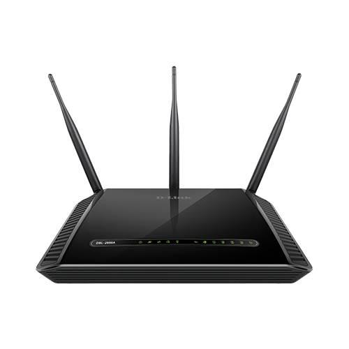 ADSL2 MODEM+ROUTER+4PORT+2USB+ 1X GIGABIT WAN + ACCESSPOINT WIRELESS DUAL BAND-AC1600   3 ANTENNA D-LINK DSL-2888A+FILTER BLACK ,ADSL Routers