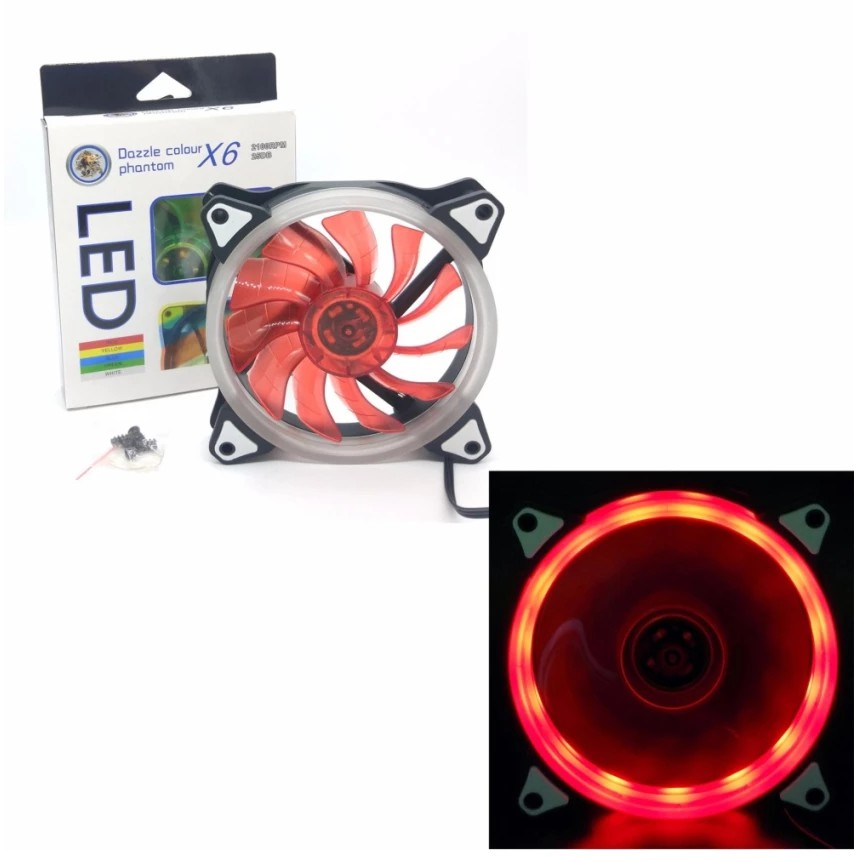 FAN CASE DAZZLE COLOUR PHANTOM X6 SILIENT 20CM 2100RPM 25DB 12SM*12SM مروحه خاصه باجهزه الديسك توب مضيئه ,Fan Cooler