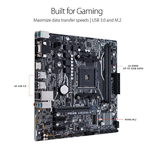 MB ASUS AMD PRIME A320M-K AM4 DDR4 32Gb M.2 HDMI SATA 6Gb USB 3.0 + AMD ATHLON 200GE PROCESSOR 2 CORE 4THREAD 3.2 GHZWITH VGA RADEON VEGA لوحه مع معالج ,Desktop Mainboard