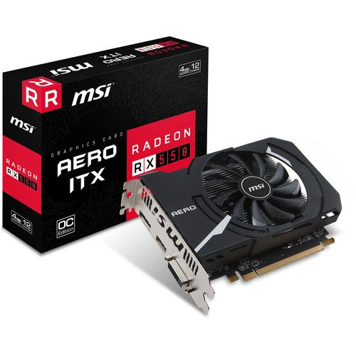 VGA MSI AERO ITX  OC AMD RX-550 4G GDDR5 128-bit DIRECTX-12 VULKAN ,Desktop Graphic Card