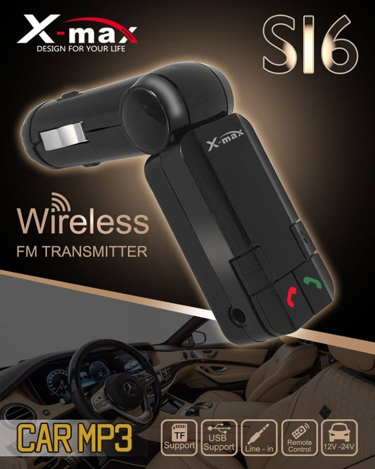 CAR FM TRANSMITTER  X-MAX - CHARGER + USB + SD SLOT + AUX IN +MP3 PLAYER WITH SCREEN - S16 - BLACK ,Media Players Accessories