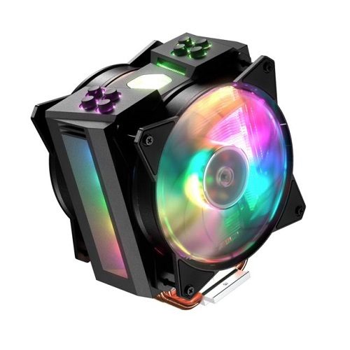 COOLER FOR CPU INTEL & AMD COOLER MASTER MASTER AIR MA410M 4HEAT PIPES 2FAN RGB COLORFULLY ,Fan Cooler