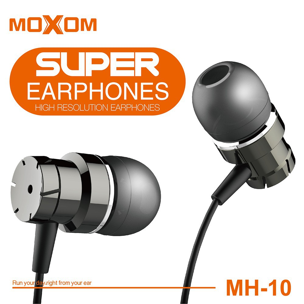 EARPHONE MOXOM  3.5MM WIRED SUPER BASS VOLUME CONTROL SPORT WITH MIC FOR IOS/ANDROID - MH-10 ,Smartphones & Tab Headsets