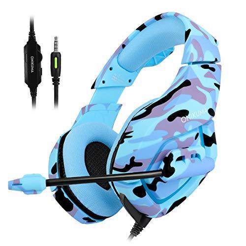 HEADSET GAMING ONIKUMA K1-BLUE PROFESSIONAL COLOR BLUE ازرق مموه ,Headphones & Mics