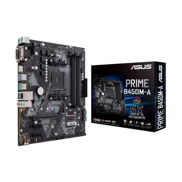 MB ASUS AMD PRIME B450M-A AM4 RGB DDR4 3200MHz M.2 HDMI 2.0b SATA 6Gbps and USB 3.1 Gen 2 +AMD RYZEN 3 PRO 2200G, Desktop Mainboard