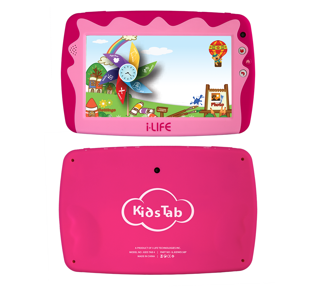 KIDS TAB I-LIFE 7.0 HD - QUADCORE 1.2GHZ 512GB 8GB Dual Camera - PARENTAL CONTROL - WIFI - KIDS TAB 4 - PINK ,Display 7 Inch