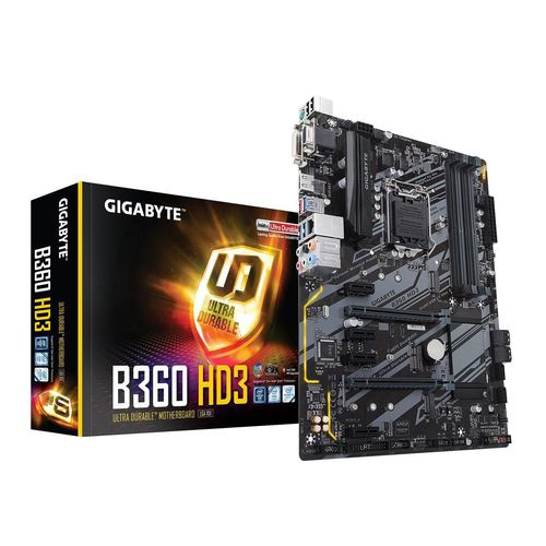 MB GIGABYTE B360 HD3 INTEL SOK1151 9th/8th GEN DDR4 MAX 64GB DUAL M.2 USB 3.1 GbE LAN RGB  CEC 2019 READY ,Desktop Mainboard