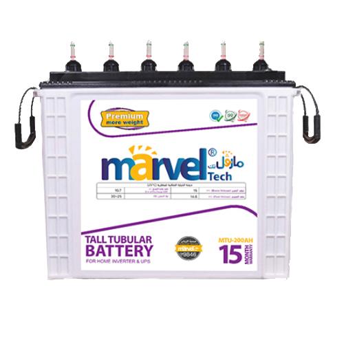 BATTERY MARVEL TUBULAR  MTU-200 12V/200Aسائله هنديه انبوبيه/يفضل شحن البطاريه بشكل كامل قبل الاستخدام ,Batteries