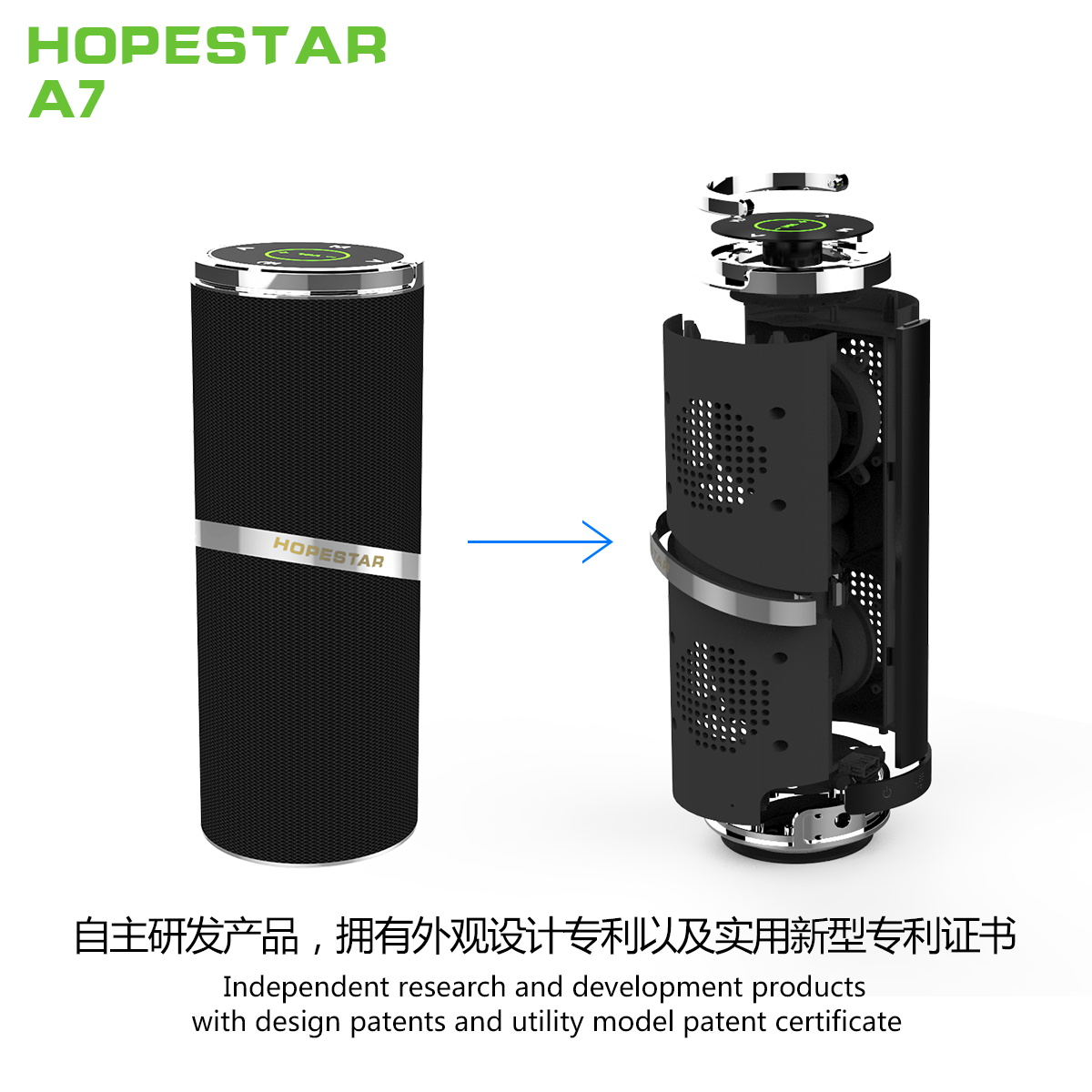 SPEAKER BLUETOOTH HOPESTAR FOR MP3 & MOBILE&SD CARD&USB A7 COLOR, Speakers