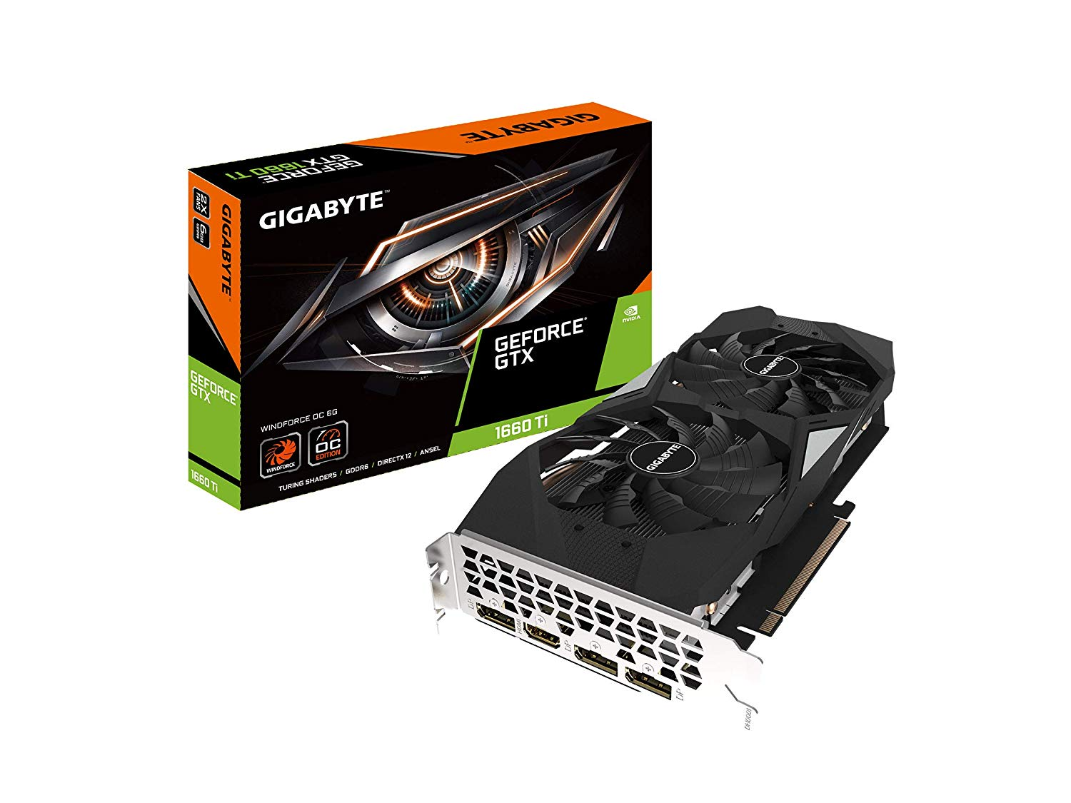 VGA GIGABYTE WINDFORCE GTX 1660TI OC 6G GDDR6 1845 MHz MHz 192-BIT ,Desktop Graphic Card