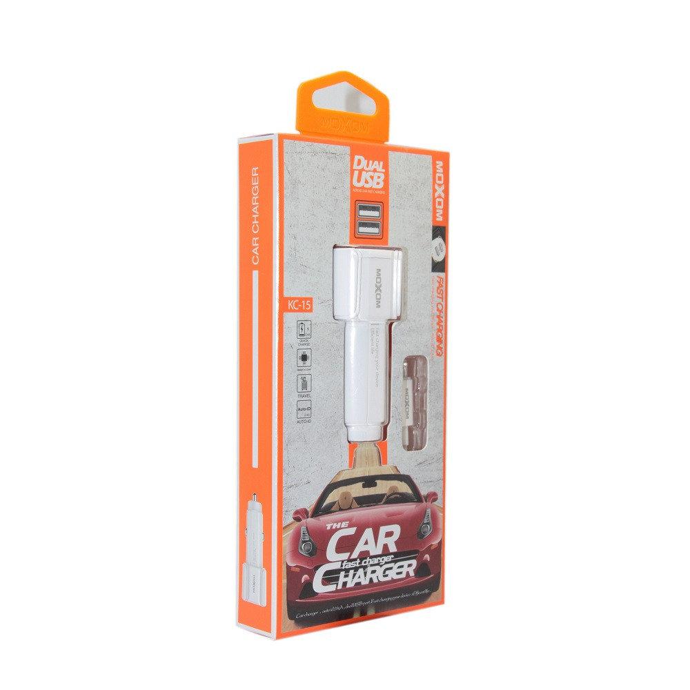 CAR CHARGER MOXOM 2PORT FOR SMARTPHONE OR TABLET 5V-2.4A  KC-12/KC-11/KC-07 شاحن سيارة مع كبل سامسونغ ,Smartphones & Tab Chargers