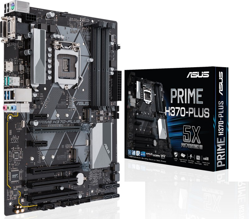 MB ASUS INTEL H370-PLUS SOK 1151 SUPPORT FOR 8th GENERATIION /DDR4 2666MHZ/ USB 3.1/DUAL M.2 WITH LED LIGHTING ,Desktop Mainboard