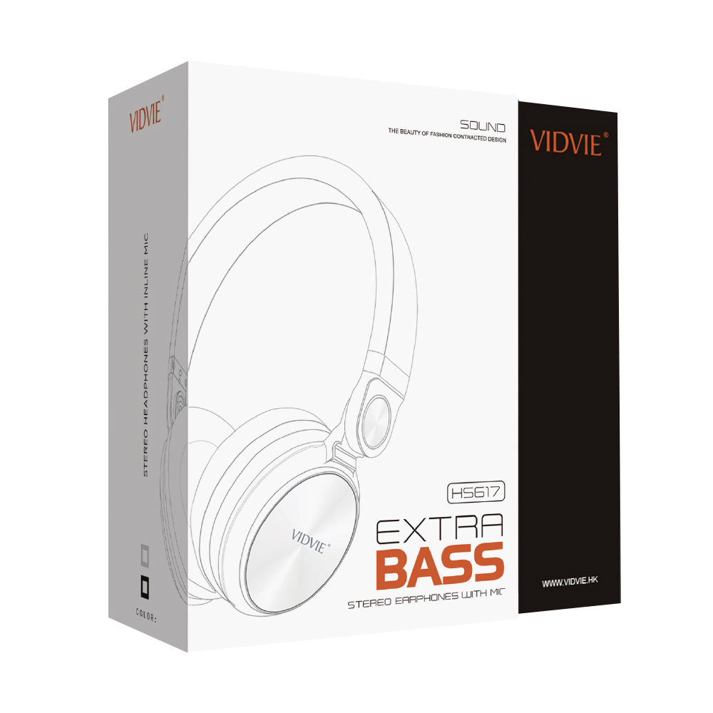 HEADPHONE VIDVIE AUX HIGH QUALITY WITH IN LINE MIC HS617 COLOR - ,Headphones & Mics
