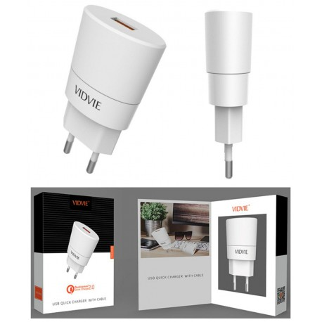 CHARGER VIDVIE QUICK CHARGE 2.0 - 1 PORT  FOR SMARTPHONE PLE208Q -  راسية شاحن سريع ,Smartphones & Tab Chargers