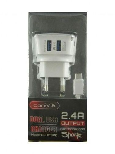 CHARGER I CONIX 2 PORT  FOR  ANDROID/IOS  OUTPUT DC5V-2.4A IC-HC1010 شاحن مخرجين مع كبل ايفون ,Smartphones & Tab Chargers
