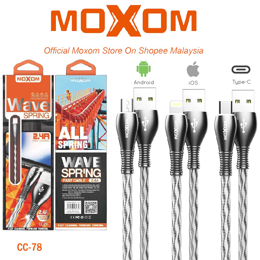 CABLE  Lightning FOR IPHONE & IPAD  DATA & CHARGE MOXOM CC-78 ,Other Smartphone Acc