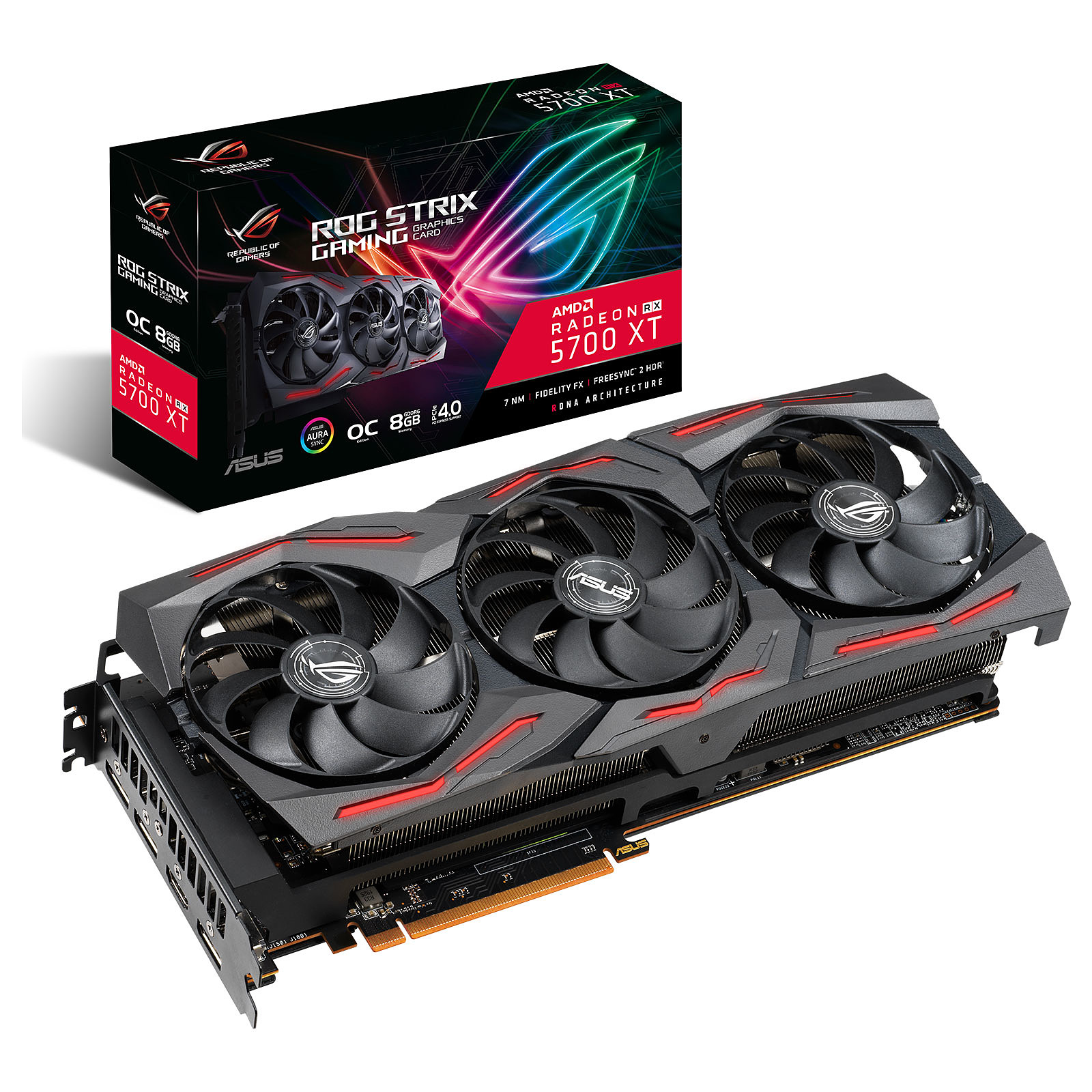 VGA ASUS AMD RADEON ROG-STRIX-RX5700XT-8G-GAMING OC 8GB GDDR6 256-BIT ,Desktop Graphic Card
