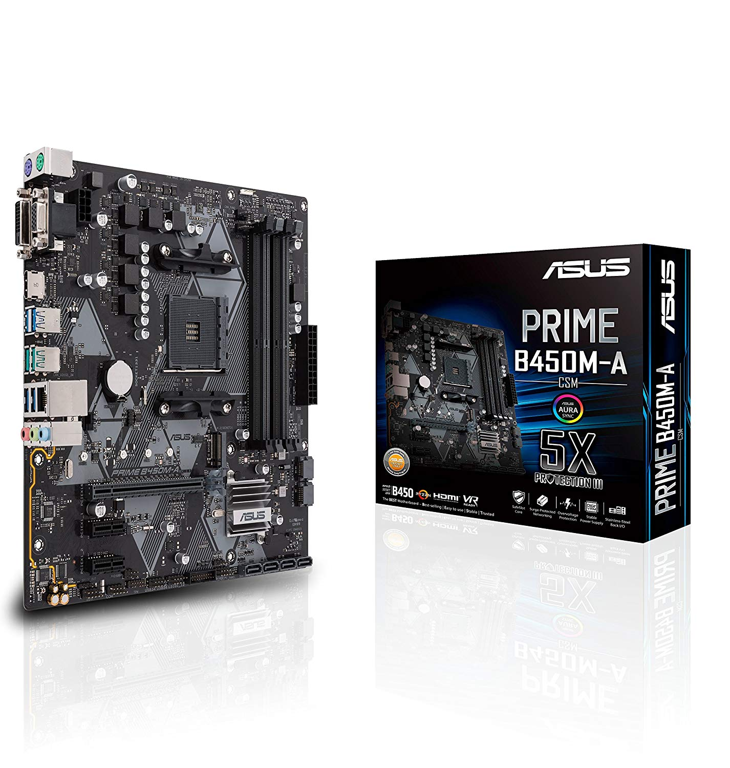 MB ASUS AMD PRIME B450M-A AM4 RGB DDR4 3200MHz M.2 HDMI SATA 6Gbps and USB 3.1+CPU AMD RYZEN 5 3400G 3.7 UP 4.2GHZ 6M CACHE 4 CORE 8THREAD VEGA11 ,Desktop Mainboard