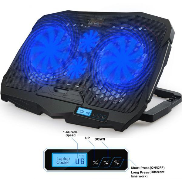 قاعدة متحركة+شاشة رقمية NOTEBOOK COOLING PAD 4 FAN 15.6-17 S-18 ,Laptop Accessories