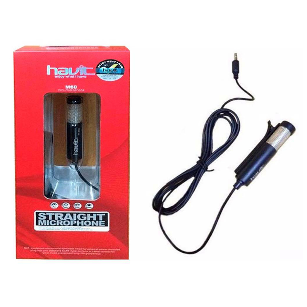 MICROPHONE STRAIGHT HAVIT HV-M60 MINI CLIP 39DB تعليق بدون قاعده ,Headphones & Mics