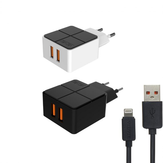 CHARGER VIDVIE 2 PORT AUTO-ID FOR IOS & ANDROID PLE204 - OUTPUT DC5V-2.4A شاحن مخرجين مع كبل ايفون ,Smartphones & Tab Chargers