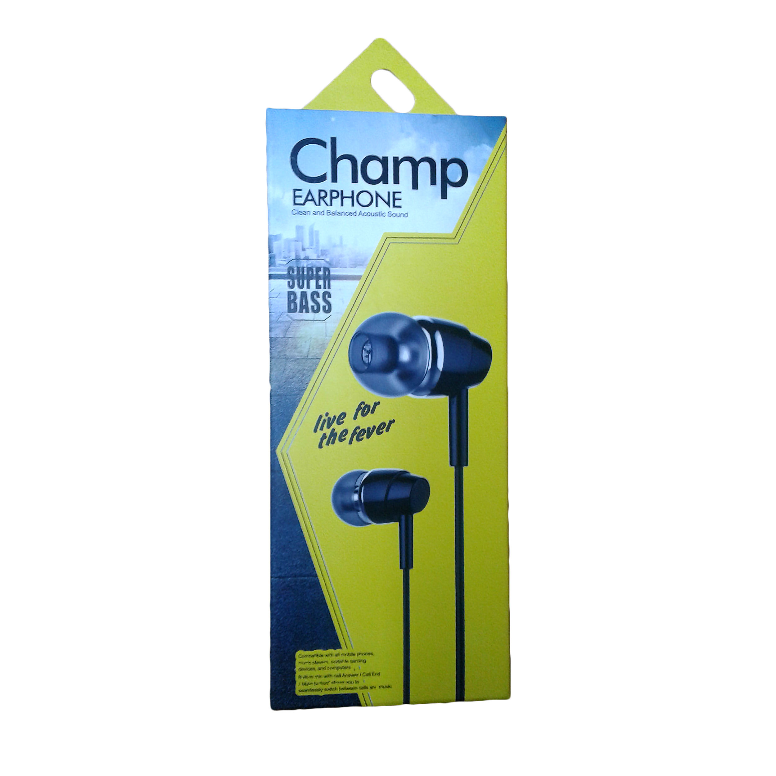 EARPHONE CHAMP FOR SMARTPHONE OR TAB WHITE ضغط ,Smartphones & Tab Headsets
