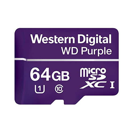 RAM 64GB MICRO SD FLASH CARD WD PURPLE CLASS 10 ,Flash Card