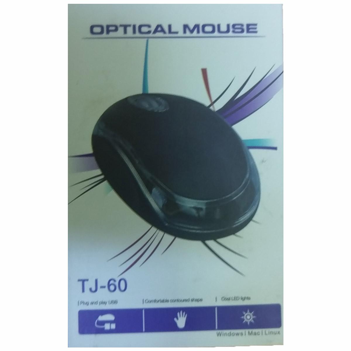 MOUSE TJ-60 OPTICAL MINI BLACK USB ,Mouse
